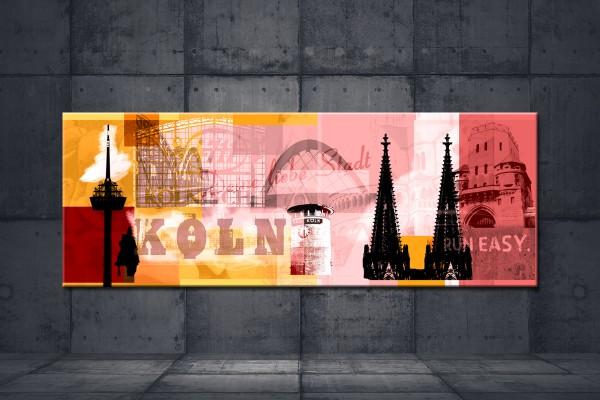 Leinwandbild Köln Deine liebe Stadt Lang Gelb rot