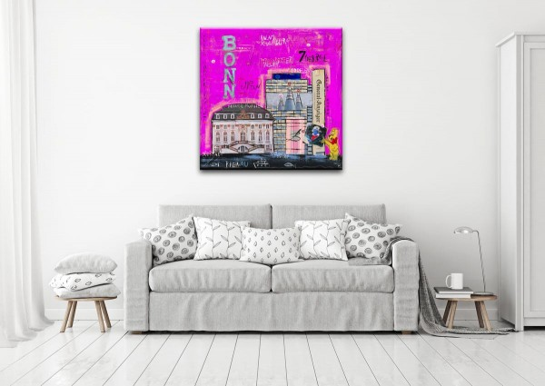 Kathrin Thiede Bonn I lila Collage Bild auf Leinwand