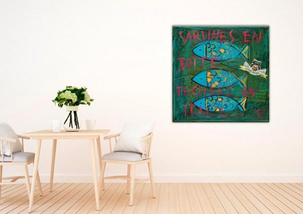 Kathrin Thiede Sardinen II grün Collage Bild auf Leinwand