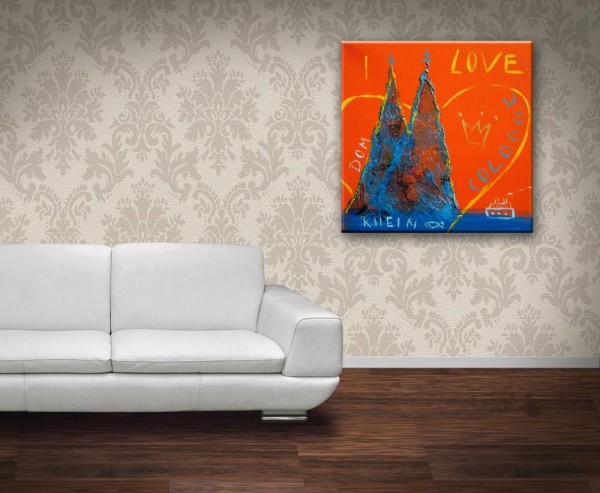 Kathrin Thiede I love Cologne orange Collage Bild auf Leinwand