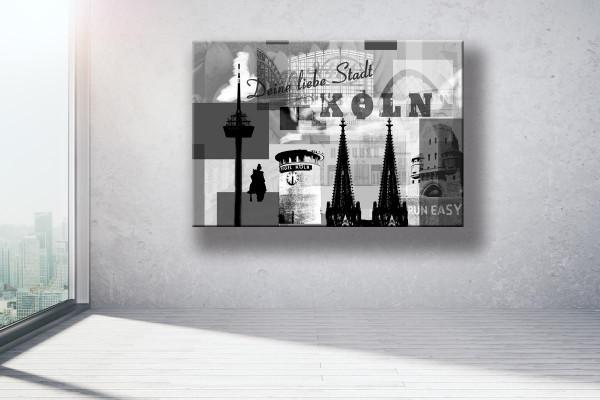 Collage Deine Liebe Stadt III grau Bild auf Leinwand