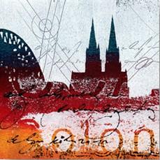 """Leinwandbild """"Der Dom in rot 3"""" von Vittorio Vitale ab 50x50 cm"""