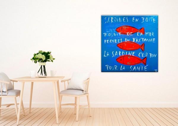 Kathrin Thiede Sardinen blau Collage Bild auf Leinwand