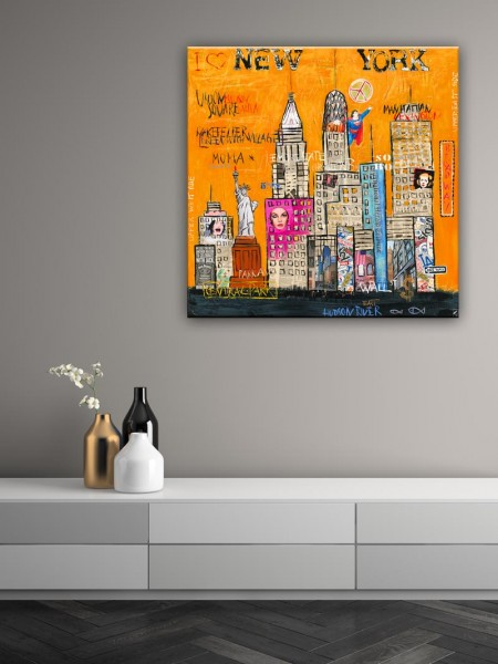 Kathrin Thiede New York III orange Collage Bild auf Leinwand