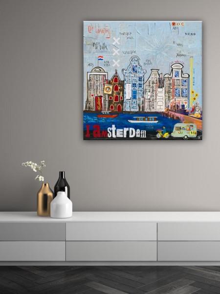 Kathrin Thiede Amsterdam Collage Bild auf Leinwand