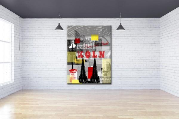 Collage Deine Liebe Stadt IV schwarz-rot Bild auf Leinwand