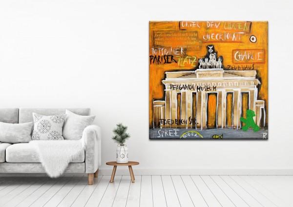 Kathrin Thiede Brandenburger Tor II gelb Collage Bild auf Leinwand