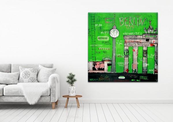 Kathrin Thiede Brandenburger Tor grün Collage Bild auf Leinwand