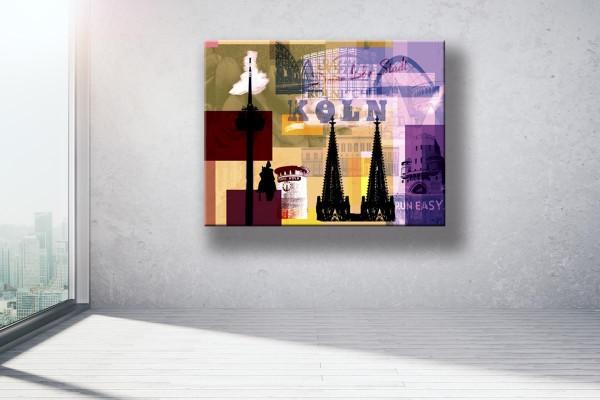 Collage Deine Liebe Stadt III gelb violett braun Bild auf Leinwand