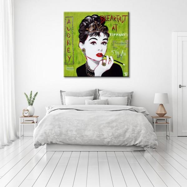 Kathrin Thiede Audrey Hepburn grün Collage Bild auf Leinwand