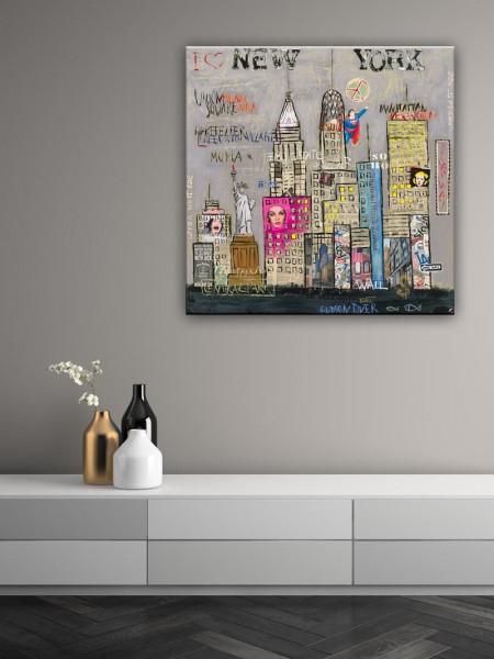 Kathrin Thiede New York III grau Collage Bild auf Leinwand