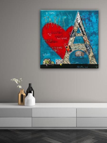 Kathrin Thiede Paris III blau Collage Bild auf Leinwand