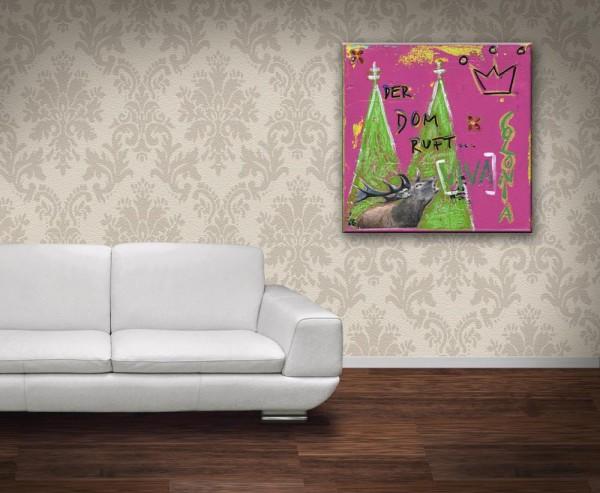 Kathrin Thiede Hirsch pink Collage Bild auf Leinwand
