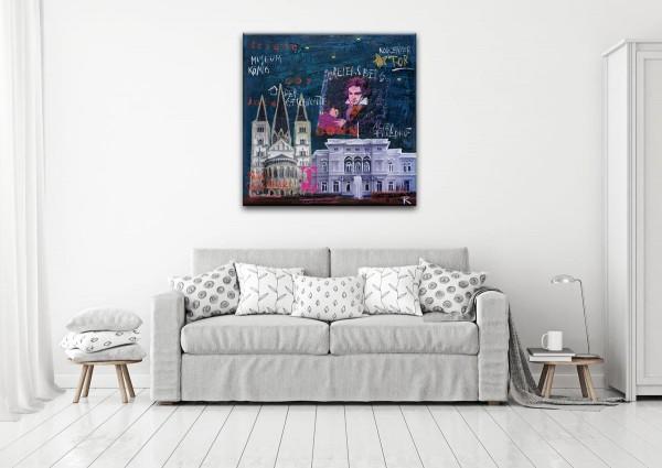 Kathrin Thiede Bonn II blau  Collage Bild auf Leinwand