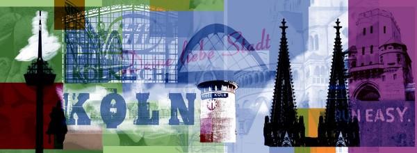 Mini Köln Deine Liebe Stadt grün violett auf MDF