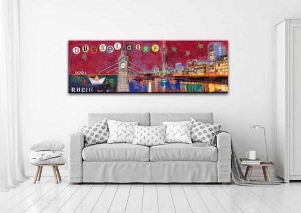 Kathrin Thiede Düsseldorfer Hafen rot Collage Bild auf Leinwand
