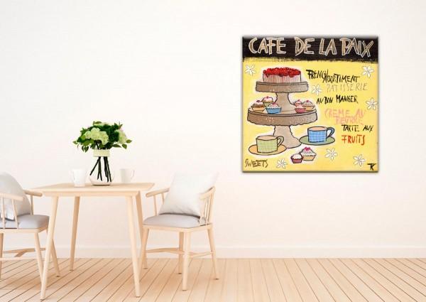 Kathrin Thiede Cafe de la Paix Collage Bild auf Leinwand
