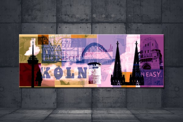 Leinwandbild Köln Deine liebe Stadt Lang braun violett