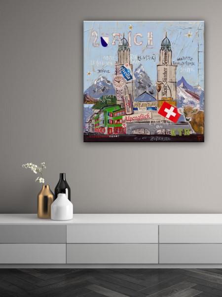 Kathrin Thiede Zürich Collage Bild auf Leinwand