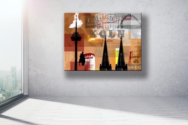 Collage Deine Liebe Stadt III orange Bild auf Leinwand