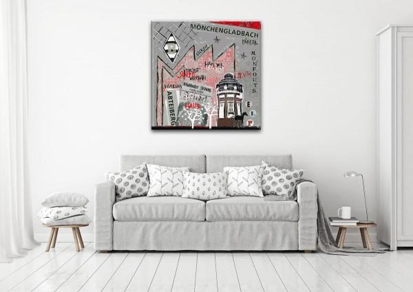 Kathrin Thiede Mönchengladbach grau Collage Bild auf Leinwand