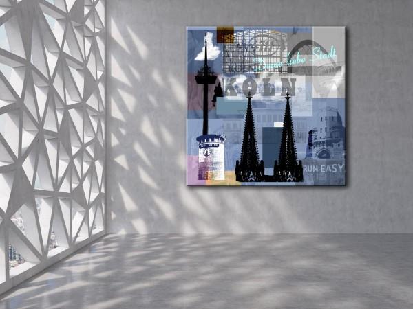 Collage Deine Liebe Stadt II blau Bild auf Leinwand