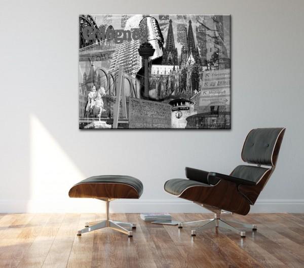 Leinwandbild Köln Collage Cologne grau