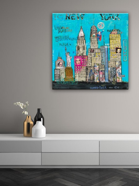 Kathrin Thiede New York III blau Collage Bild auf Leinwand