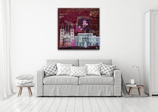 Kathrin Thiede Bonn II rot Collage Bild auf Leinwand