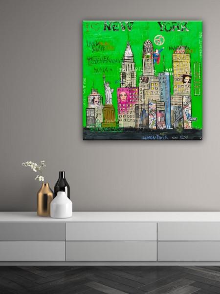 Kathrin Thiede New York III grün Collage Bild auf Leinwand