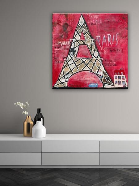 Kathrin Thiede Paris II Collage Bild auf Leinwand