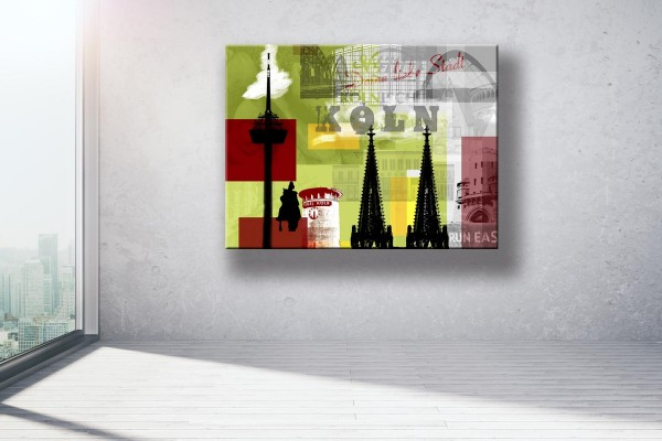 Collage Deine Liebe Stadt III grün Bild auf Leinwand