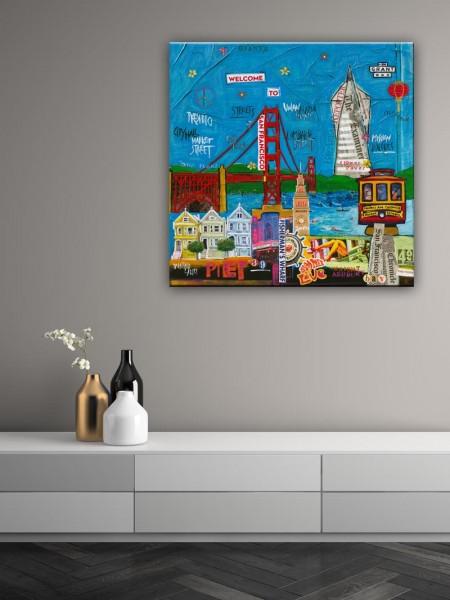 Kathrin Thiede San Francisco Collage Bild auf Leinwand