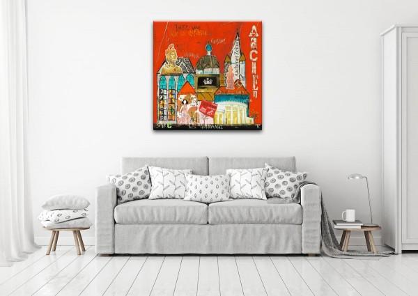 Kathrin Thiede Aachen rot Collage Bild auf Leinwand