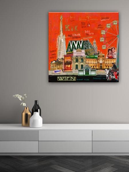 Kathrin Thiede Wien Collage Bild auf Leinwand