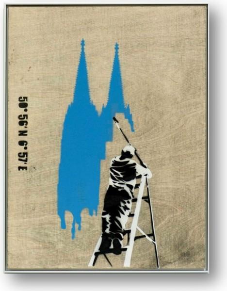 Schöner Wohnen in blau Unikat Graffiti auf Holz