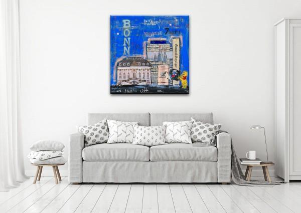 Kathrin Thiede Bonn I dunkelblau Collage Bild auf Leinwand
