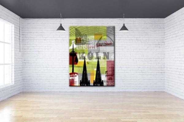 Collage Deine Liebe Stadt IV grün Bild auf Leinwand