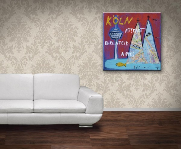 Kathrin Thiede Köln rostrot collage Bild auf Leinwand