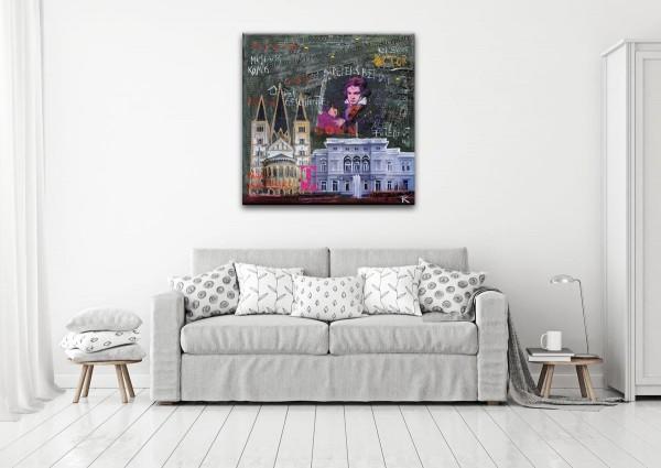 Kathrin Thiede Bonn II grau Collage Bild auf Leinwand