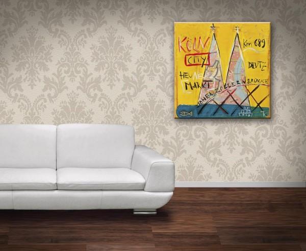 Kathrin Thiede Köln City gelb Collage Bild auf Leinwand