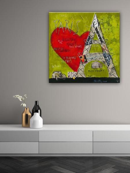 Kathrin Thiede Paris III gruen Collage Bild auf Leinwand