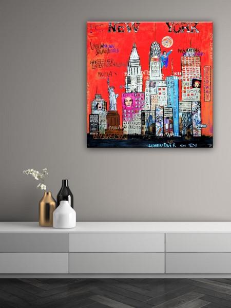 Kathrin Thiede New York III rot Collage Bild auf Leinwand
