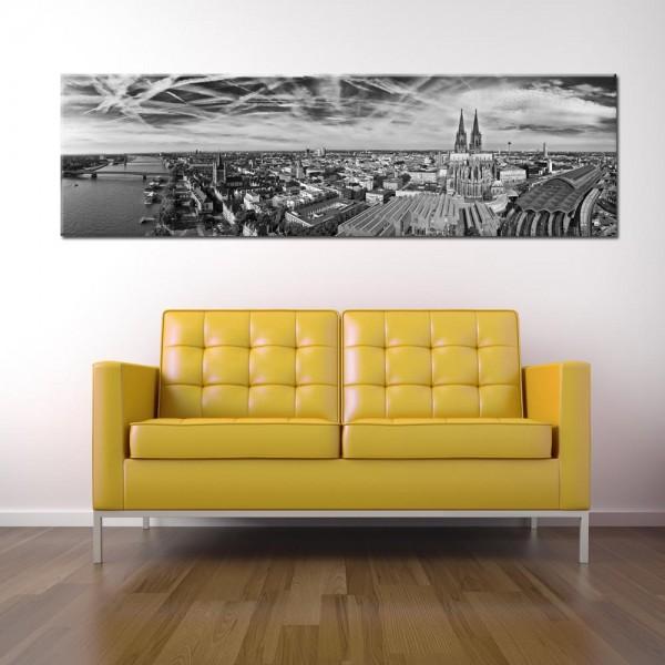 Leinwandbild Köln Panorama schwarz weiß 293 von Wolfgang Weber