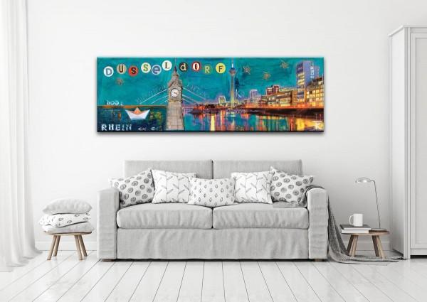 Kathrin Thiede Düsseldorfer Hafen türkis Collage Bild auf Leinwand