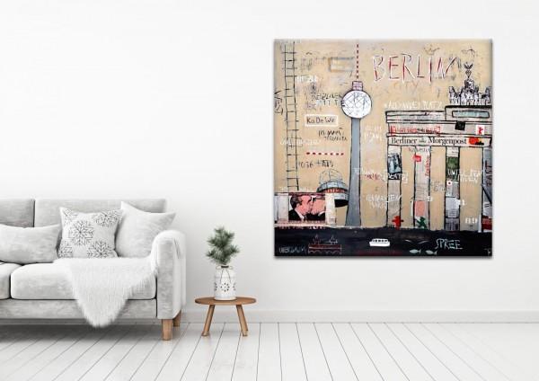 Kathrin Thiede Brandenburger Tor beige Collage Bild auf Leinwand
