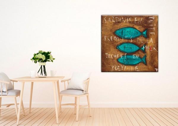 Kathrin Thiede Sardinen II braun Collage Bild auf Leinwand