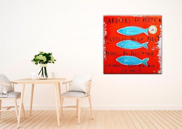 Kathrin Thiede Sardinen rot Collage Bild auf Leinwand