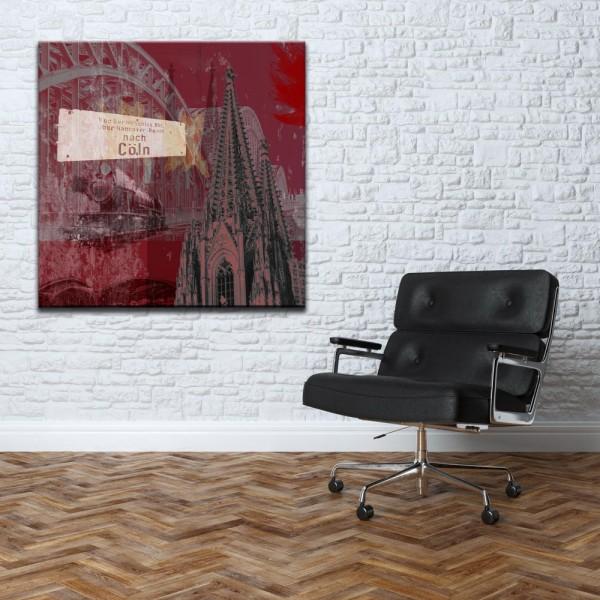 Leinwandbild Cologne Steam rot