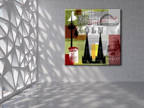 Collage Deine Liebe Stadt II grün Bild auf Leinwand